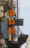 Bar sign in a city Stock Image