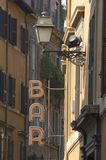 Bar Sign In The Old Street Of Rome Royalty Free Stock Photos