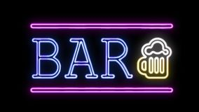 BAR Sign Neon Sign in Retro Style Turning On stock video