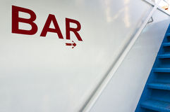 Bar sign onboard a ship Stock Images