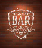 Bar sign painted on brick wall stock illustration