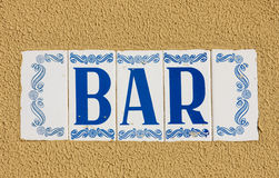 Bar sign in portuguese mosaic style. The picture of bar sign in portuguese mosaic style Royalty Free Stock Photos