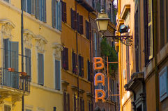 Bar sign in the street of Rome. Italy Royalty Free Stock Photos