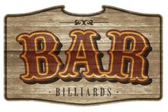 Bar Sign Wooden Plaque Old Western Billiards royalty free illustration