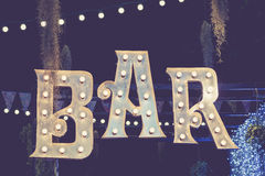 Bar signage Lights decoration outdoor Event Royalty Free Stock Photography