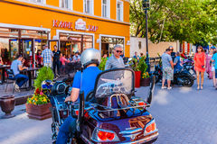 Bar Sixties in Arbat street of Moscow. Russia, on Monday, July 14, 2014. This bar is the popular meeting place of Moscow bikers. Vakhtangov Theatre and Royalty Free Stock Photography