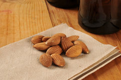 Bar snacks, almonds Stock Photos