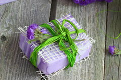 Bar Of Soap. Colored handmade soaps with herbs . Shallow DOF stock images
