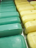 Bar Soap Lineup. Two Lines of bar soap, with room on the first bar for copy space Royalty Free Stock Image