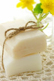Bar of soap with yellow flowers Royalty Free Stock Images