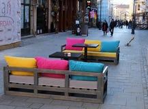 Bar Sofas on Sidewalk Stock Photography
