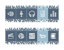 Bar with sound - cinema icons. Vector web icons. blue dots bar series Stock Photo