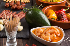 Bar with spanish tapas starters Royalty Free Stock Images