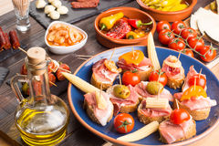 Bar with spanish tapas starters Royalty Free Stock Photo