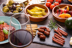 Bar with spanish tapas starters Royalty Free Stock Photos