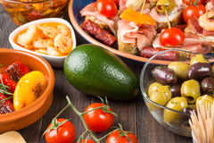 Bar with spanish tapas starters Stock Image