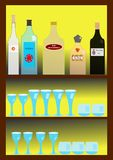 Bar with spirits. A bar with bottles of liquor and glasses Royalty Free Stock Photos