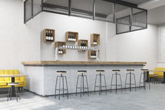 Bar stand in a cafe. Bar stand with stools, a yellow  and small wooden tables. Concrete wall. Concept of eating out. 3d rendering Royalty Free Stock Photography