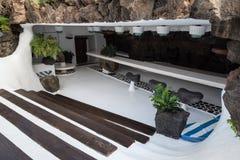 Bar in stone cave Lanzarote Spain Stock Photos