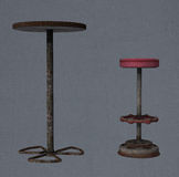 A bar stool and table Stock Photo
