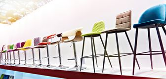 Bar stools in furniture store stock image