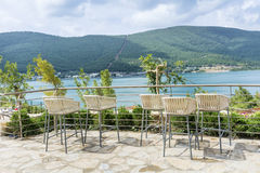Bar Stools with sea view. Outdoor Bar Stools with sea view royalty free stock photo