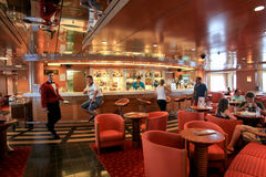 Bar in Superfast  ship. Adriatic sea, August 2012: an elegant coffee bar in Superfast ship. The Superfast ships operate in international waters, offering Royalty Free Stock Photo