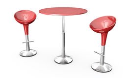 Bar table and chairs. Modern bar table with two chairs on white background. 3D rendered image Stock Photos