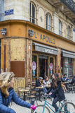 Bar terrace of Apollo cafe in Bordeaux. Aquitaine. France. Royalty Free Stock Photos