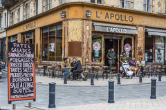 Bar terrace of Apollo cafe in Bordeaux. Aquitaine. France. Royalty Free Stock Photo