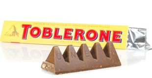 A bar of Toblerone milk cocolate Stock Photography