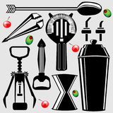 Bar tools in vector silhouette. Full set of bar tools in vector silhouette, including shaker, tumbler, strainer, stirrer, bottle opener, corkscrew, tongs, and Royalty Free Stock Image