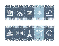 Bar with tourist guide icons. Vector web icons. blue dots bar series Stock Images