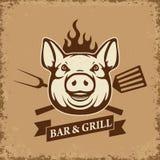 Bar und Grill Schweinkopf mit Küchenwerkzeugen auf Schmutzhintergrund stock abbildung