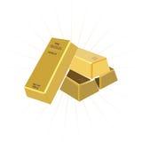 Bar van goud op een witte achtergrond Royalty-vrije Stock Foto's