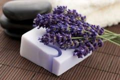 Bar van natuurlijke zeep en lavendel Royalty-vrije Stock Foto