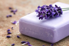 Bar of violet soap Royalty Free Stock Image