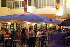 Bar w marina przy nocą, Benalmadena Obraz Stock