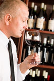 Bar waiter smell glass red wine restaurant Royalty Free Stock Photos