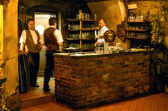 The bar with waiters in a restaurant in the Rock. Royalty Free Stock Photos