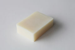 Bar of white handmade soap stock photos