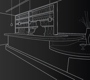 Bar. In white lines at black background Stock Photo