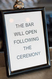 Bar Will Open After Ceremony Royalty Free Stock Photo