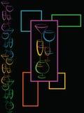 Bar wine card menu. Color wine card menu on black Stock Photography
