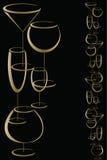 Bar wine card menu. Golden glasses of alcohol drinks on black background Stock Images