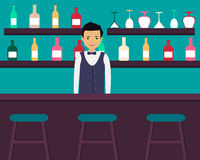 Bar. Young barman standing in bar with alcoholic beverages. Vector illustration Stock Photo
