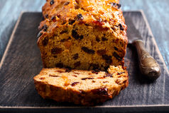 Bara brith traditional Welsh fruit teabread, Stock Photo