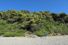 Bara i den härliga stranden Fotografering för Bildbyråer