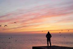 Bara står mannen på skeppsdockapir och den hållande ögonen på soluppgångsolnedgången med perfekta Seaview royaltyfria bilder