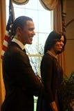 Barack en Michelle Obama Wax Figures Stock Foto